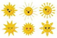 Vector collection. Six Cute smiling sun faces for child design